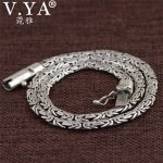 V.YA Heavy Chain Necklaces Solid 925 <b>Sterling</b> <b>Silver</b> Men Necklace Punk Style Thai <b>Silver</b> Link Necklace 45 50 55 cm Men's <b>Jewelry</b>