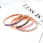YUN RUO <b>Fashion</b> Brand <b>Jewelry</b> Rose Gold Color Luxury Colorful Zircon Bangle Lover Cuff 316L Stainless Steel for Woman Not Fade