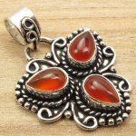 <b>Antique</b> Look Pendant !! Red Cabochon CARNELIAN 3 Gemset Silver Plated <b>Jewelry</b>