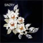 SINZRY elegant Hot cubic zircon natural shell brooch pin shell flower scarf buckle lady bridal <b>jewelry</b> <b>accessories</b>