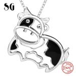 2018 sterling silver 925 lovely animal cows chain pendant&necklace with black enamel diy fashion <b>jewelry</b> <b>making</b> for women gift