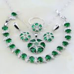Sterling <b>Silver</b> Jewelry Green Created Emerald White CZ Jewelry Sets For Women Wedding Earring/Pendant/Necklace/<b>Bracelet</b>/Ring