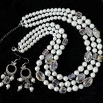 White shell simulated-pearl square oval crystal 3rows necklace earrings round beads <b>making</b> <b>Jewelry</b> set 18-22″ B1007