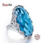 Szjinao Wholesale Vintage Big Rings For Women 22ct Oval Aquamarien Flower Pattern Solid 925 Sterling <b>Silver</b> Wedding <b>Jewelry</b>