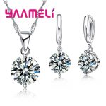YAAMELI Free Shipping New Arrival <b>Wedding</b> <b>Jewelry</b> Set 925 Sterling Silver Multiple Colors Cubic Zircon Necklace/Earrings Sets
