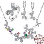 Aceworks Butterfly 3pcs Jewelry Sets 925 Sterling <b>Silver</b> Guarantee <b>Earrings</b>/Necklace/Rings Butterfly Cubic Zircon Women Wedding