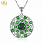Hutang Solid 925 Sterling <b>Silver</b> 5.46ct Natural Gemstone Chrome Diopside & Topaz Flower Pendant Necklace Fine <b>Jewelry</b> For Women