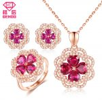 GEHOO Women Jewelry Sets Pretty Ruby Gemstone 925 Sterling <b>Silver</b> with Zircon <b>Earrings</b> Necklace Pendant Ring for Wedding Bridal