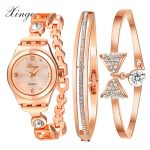 Women <b>Bracelet</b> Watch Rose & <b>Silver</b> Bow Alloy Jewelry Quartz Wristwatch Ladies Luxury Dress Watch Waterproof Clock S0324