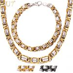 U7 Two Tone Gold Color Men Chain Flat Byzantine Stainless Steel <b>Necklace</b>/Bracelet Sets Men Chunky Motorcycle <b>Jewelry</b> S670