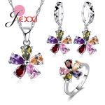 YAAMELI New Arrival Woman <b>Jewelry</b> Set 925 Sterling <b>Silver</b> Necklace Earrings Flower Shape Pendant Cute Bridal Wedding Sets