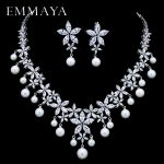EMMAYA Pearl Costume Women <b>Jewelry</b> Sets White CZ Earrings/Pendant <b>Necklace</b> Luxury Bridal Wedding <b>Jewelry</b>