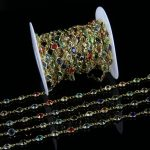 Rainbow Color Glass Faceted Round Beads Coin Chains,6MM Glass Flat beads Link Gold Plated Wire Wrapped Rosary Style Chains