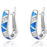 Newshe Blue Triangle Opal CZ Solid 925 Sterling Silver Hoop Earrings Classic <b>Jewelry</b> For Women