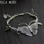 925 Thai <b>Silver</b> Multilayer Flower Pendant <b>Bracelets</b>&Bangles Fashion Women Elephant Butterfly Charm <b>Bracelet</b> Jewelry Accessories