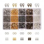 About 1800Pcs/Box Mixed Color Iron Cord Ends Brass Lobster Clasps and Jump Rings In 5 Colors Mixed Sizes <b>Jewelry</b> <b>Making</b> Findings