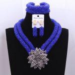 Retro Nigerian Beads Wedding Set Royal Blue <b>Silver</b> Flower Bridesmaid Bridal Necklace Earrings Jewelry Set Free Shipping