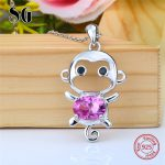 2018 sterling silver 925 cute animal monkey chain pendant&necklace with Zirconia diy fashion <b>jewelry</b> <b>making</b> for women gifts