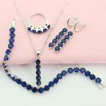 WPAITKYS Dark Blue Cubic Zirconia <b>Silver</b> Color Jewelry Sets For Women Necklace Long Drop Earrings <b>Bracelet</b> Ring Free Gift Box