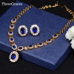 ThreeGraces Elegant American Women Royal Blue Cubic Zirconia Crystal Bridal <b>Jewelry</b> Necklace Earrings Set For <b>Wedding</b> JS206