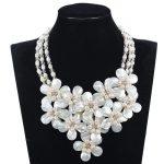 Fabulous Shell Flower Bib <b>Wedding</b> Pearl Necklace Chunky Bib Statement Necklace Freshwater Pearl <b>Jewelry</b> Free Shipping FP188