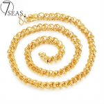 7SEAS Trendy Gold Color Hook-ups Chain Link Necklace 8mm/12mm Wide 60cm Long Men Necklace Factory Direct Fashion <b>Jewelry</b> KX659