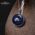 GLSEEVO 925 Sterling Silver Lapis Lazuli Lotus Flower Necklaces & Pendants Chain <b>Handmade</b> Necklace Pendant <b>Jewelry</b> Colar GN0014