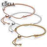 EDELL 100% 925 Sterling <b>Silver</b> New Rose Gold 18K Gold Golden Glitter Instant Slide <b>Bracelet</b>