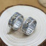 100% 990 Silver Tibetan OM Mani Padme Hum Ring Vintage Pure Silver Tibetan Dorje Ring Vajra Symbol GOOD Luck <b>Jewelry</b>