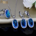 Pera 7 Color Choice Sterling Silver 925 <b>Fashion</b> Ladies Evening Party Big Oval Cute Drop Cubic Zirconia 3 Pcs Necklace Sets J218