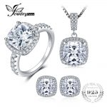 JewelryPalace Princess Engagement Wedding <b>Jewelry</b> Set Ring Pendant Earring Stud 925 <b>Sterling</b> <b>Silver</b> Fashion <b>Jewelry</b> For Women