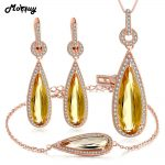 MoBuy Romantic Pear Citrine Natural Gemstone 3pcs Jewelry Sets Fine Jewelry For Women Wedding 100% 925 Sterling <b>Silver</b> V047EHN