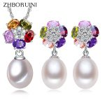 ZHBORUINI 2017 Pearl <b>Jewelry</b> sets Natural Freshwater Pearl 925 <b>Sterling</b> <b>Silver</b> Colour Flower Earrings Pendants For Women Gift