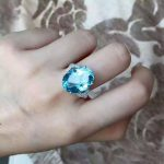 Natural blue topaz stone Ring Natural gemstone Ring S925 <b>sterling</b> <b>silver</b> trendy Luxury large for women party gift <b>Jewelry</b>