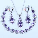L&B Popular American Style Water Drop 925 Stamp Silver Color <b>Jewelry</b> Sets Purple White Zirconia Bracelets Earring Pendant