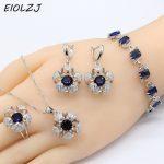925 Sterling Silver <b>Jewelry</b> Sets For Women Silver Bracelet Sets For Bride Flower Blue Zircon <b>Necklace</b> Ring Earrings Bracelet