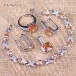 L&B Unforgetable Wedding Jewelry Sets Yellow Orange Square <b>Silver</b> Color <b>Bracelet</b> Pendant Necklace Earrings Rings For Women
