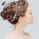 <b>Fashion</b> Wedding Tiara Bridal Hair Accessories Golden Headband Crystal Tiaras Hairband Pearls Party Headpiece Bride Hair <b>Jewelry</b>