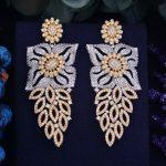 GODKI 70mm Luxury Popular Luxury Flower Leaf Full Mirco Paved Cubic Zirconia Naija <b>Wedding</b> Earring Fashion <b>Jewelry</b> for Women