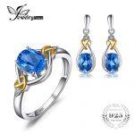 Jewelrypalace Love Knot 18K Gold Aside Natural Blue Topaz Diamond 925 <b>Sterling</b> <b>Silver</b> <b>Jewelry</b> Set Fine <b>Jewelry</b> Earring Ring