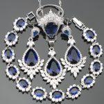 Drop Dark Blue Cubic Zirconia <b>Silver</b> 925 Costume Jewelry Sets For Women Earrings/Rings/Pendant/Necklace/<b>Bracelets</b> Free Gift Box