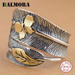 BALMORA 100% Real 925 Sterling Silver <b>Jewelry</b> Butterfly Feather Retro Rings for Women Party Gift Bijoux Thai Silver Ring SY21477