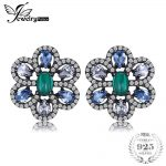 JewelryPalace Flower 3.5ct Created Emerald & Light Blue Spinel Stud <b>Earrings</b> Black Gold Plated 925 Sterling <b>Silver</b> Fine Jewelry