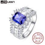 5.6ct Blue Sapphire Ring 925 <b>silver</b> ring woman 2016 Fashion S925 Ring Female Wedding Engagement <b>Jewelry</b> With Free <b>Jewelry</b> Box