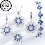 New <b>Silver</b> 925 Blue Zirconia Wedding Jewelry Sets <b>Bracelets</b> Earrings With Stones Rings Pendant Necklace For Women Set Gift Box