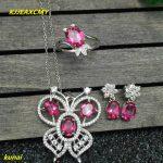 KJJEAXCMY boutique jewels 925 <b>silver</b> inlay natural Pink Topaz Ring Pendant <b>Earrings</b> 3 suit jewelry necklace sent qebu