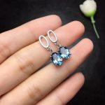 natural blue topaz drop earrings 925 <b>silver</b> Natural gemstone women fashion Elegant round drop earrings <b>jewelry</b> for woman party