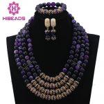 Splendid Grape Purple Stone Beaded African Fashion <b>Jewelry</b> Set New Nigerian Wedding Jewellery Set Free Ship WD003