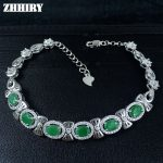 ZHHIRY Real Emerald Gem <b>Bracelet</b> Real 925 Sterling <b>Silver</b> Natural Gem Stone Women Jewellry Platinum Four Precious Stones