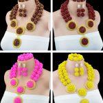 2016 New Fashion African Beads Bridal <b>Jewelry</b> Set Women <b>Jewelry</b> Set <b>Handmade</b> Nigerian Beads Necklace Set Free Shipping 10048